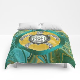 Aztec Emblem Sea Turtle  Comforters