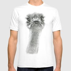 Cute Ostrich SK053 White LARGE Mens Fitted Tee