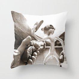 Naked Cowboy (sepia) Throw Pillow