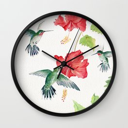 Hummingbirds and Hibiscus  Wall Clock