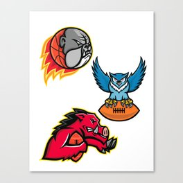 American Football and Basketball Wildlife Sports Mascot Collection Canvas Print