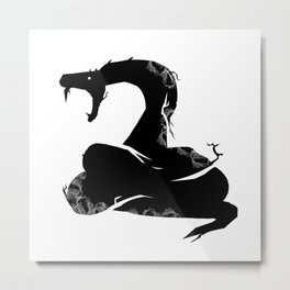 Silhouette of Attacking Gothic Snake Metal Print