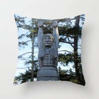 iron maiden Throw Pillows featuring Maiden by Donna Creamore