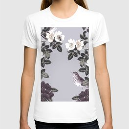 Birds and the Bees Blue Gray T-shirt