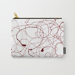 Drizzle - Dark Red Line Art - Abstract Carry-All Pouch