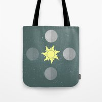 moon phases Tote Bags featuring Phases by Shelby Thompson