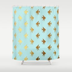 Gold Metal Foil Fish Pattern-Golden Fishes on Aqua Shower Curtain