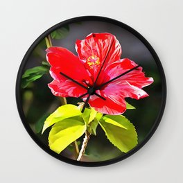 Beautiful Red Tropical Hibiscus Flower Wall Clock