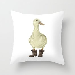 duck in boots  Throw Pillow