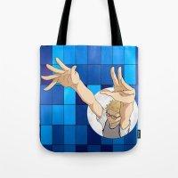 haikyuu Tote Bags featuring Tsukishima Kei - Haikyuu!! - block by anywayimnikki