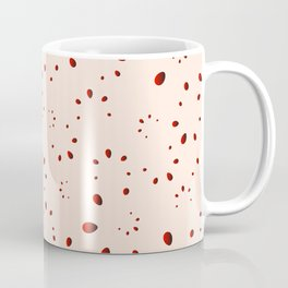 A lot of red drops and petals on a pink background in mother of pearl. Coffee Mug