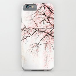 Cherry tree pink blossoms branches watercolor painting iPhone Case