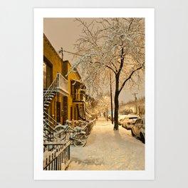 Montreal under the snow Art Print