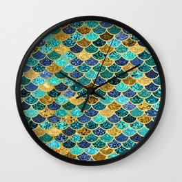Glitter Blues, Greens, and Gold Mermaid Scales Pattern Wall Clock