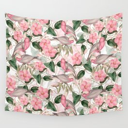 Vintage & Shabby Chic - Pink Tropical Birds And Flowers Wall Tapestry