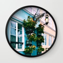 Digital Illustration of Plants and Light Mounted onto a Colourful Danish House in Nyhavn, Copenhagen Wall Clock