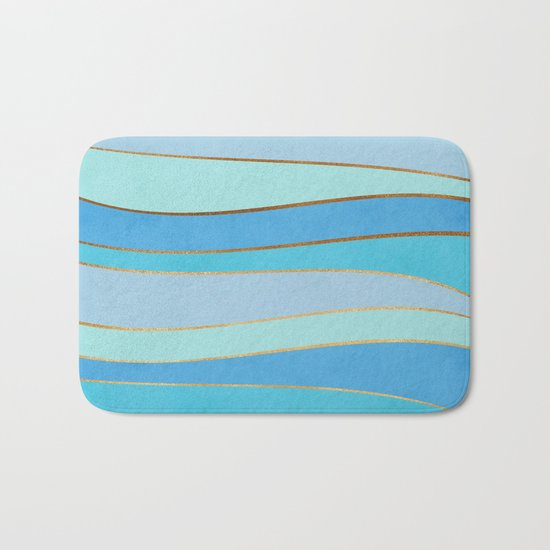 Waves Pattern - Golden Glitter Bath Mat