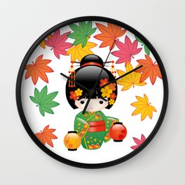 Japanese Fall Kokeshi Doll Wall Clock