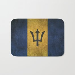Old and Worn Distressed Vintage Flag of Barbados Bath Mat