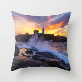 Mother Nature's Canvas- Nubble Lighthouse Sunrise Throw Pillow