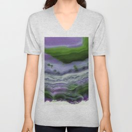 Purple and Green Agate Unisex V-Neck