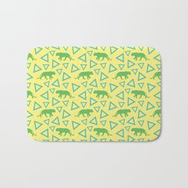 Wild African walking green female lion silhouettes and abstract triangle shapes. Stylish classy warm sunny pastel yellow seamless retro vintage geometric animal nature pattern. Bath Mat