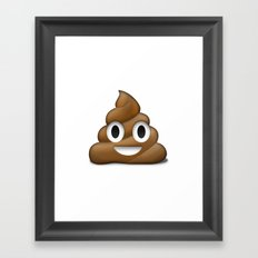 Smiling Poo Emoji (White Background) Framed Art Print