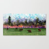 chicago bulls Canvas Prints featuring Chicago Skyline and Bulls In Pasture by Jen Hynds