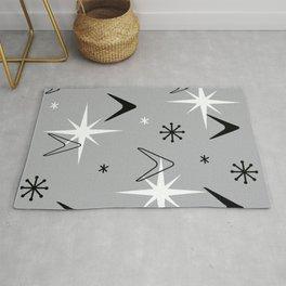 Vintage 1950s Boomerangs and Stars Gray Rug