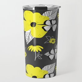 Yellow and Black Drawn Flowers on Gray Travel Mug