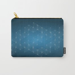 White abstract geometric triangle pattern on blue background. Carry-All Pouch