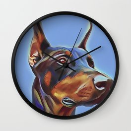 Blue Doberman Wall Clock