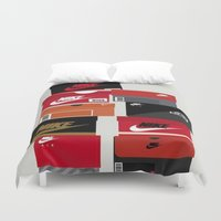 sneaker Duvet Covers featuring SNEAKER HEAD RED by RickART
