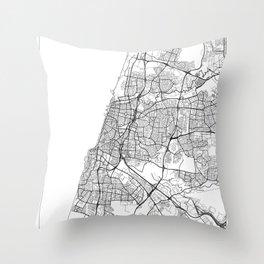 Tel Aviv Map White Throw Pillow