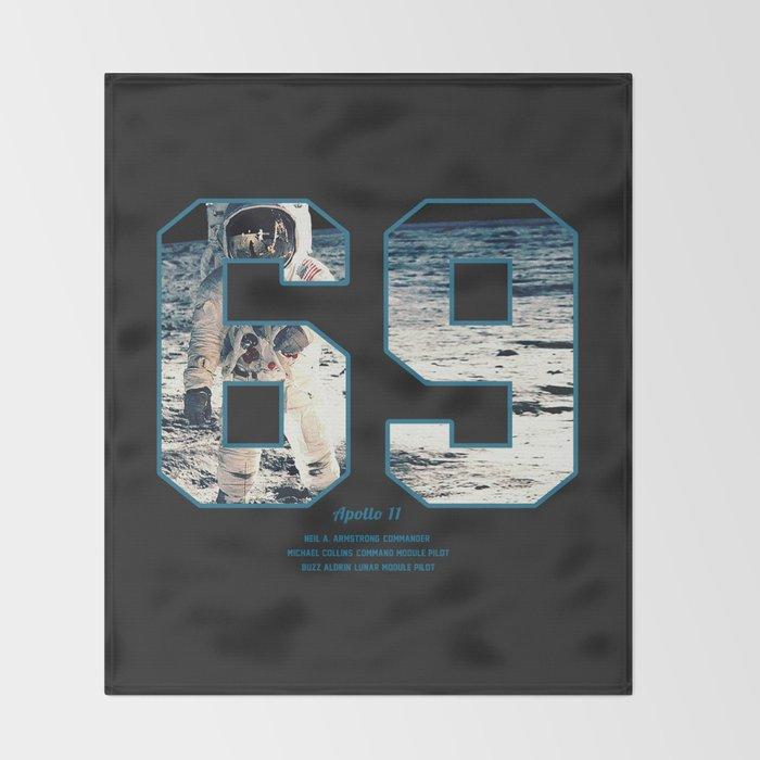 Apollo Mission 1969 First MAn on the Moon Art print Throw Blanket