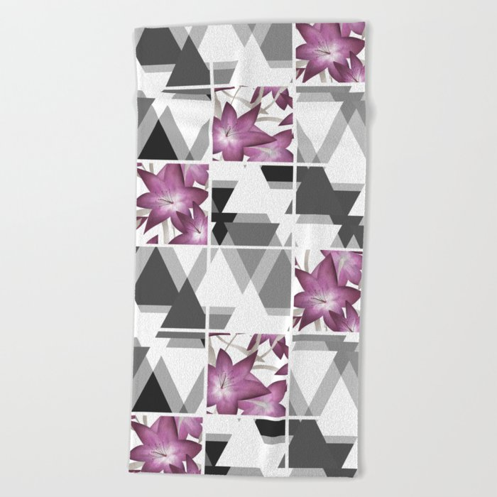 Pink lilies on grey triangles . Beach Towel
