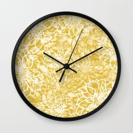 Floral Dahlias, Art Yellow Wall Clock