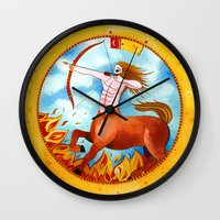 sagittarius Wall Clocks featuring Sagittarius by Sandra Nascimento