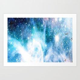Blue Turquoise Nebula Art Print