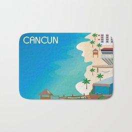 Cancun, Mexico - Skyline Illustration by Loose Petals Bath Mat