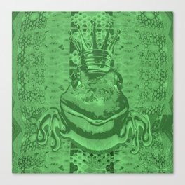 Mossy Deep Green King Frog Smile Canvas Print