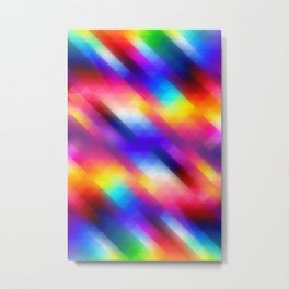 Abstract Colorful Funky Squares Pattern Metal Print