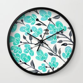 Cherry Blossoms – Turquoise & Black Palette Wall Clock