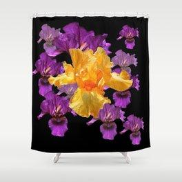 LILAC PURPLE & GOLDEN IRIS ART PATTERN BLACK DESIGN Shower Curtain