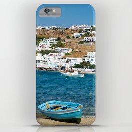 Blue Boat on Mykonos Island Greece iPhone Case