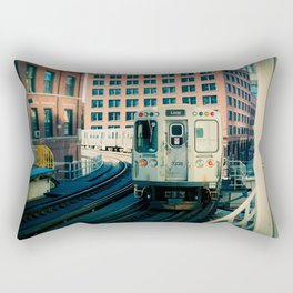 Chicago Train El Train Leaving Station L Train The Loop Urban Windy City Commute Rectangular Pillow