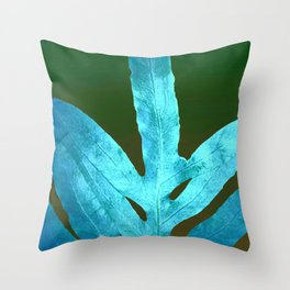 Autumn Leaves Blue and Cold Fall to the Ground Throw Pillow