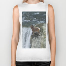 Big Horn Sheep & Rocky Mountain Waterfall Biker Tank