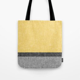 Yellow Grey and Black Section Stripe and Graphic Burlap Print Tote Bag