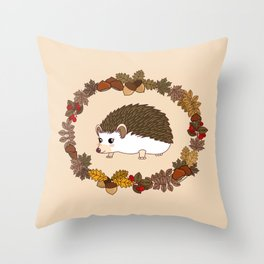 Kawaii hedgehog Throw Pillow